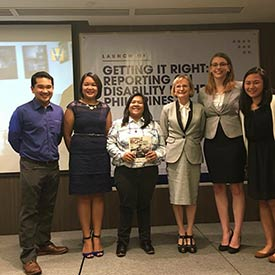 Notes from the Philippines. Lisa Butson with guests at a Getting it Right: Reporting on Disability event in the Philippines