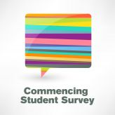 Speech bubble with the text: commencing student survey.