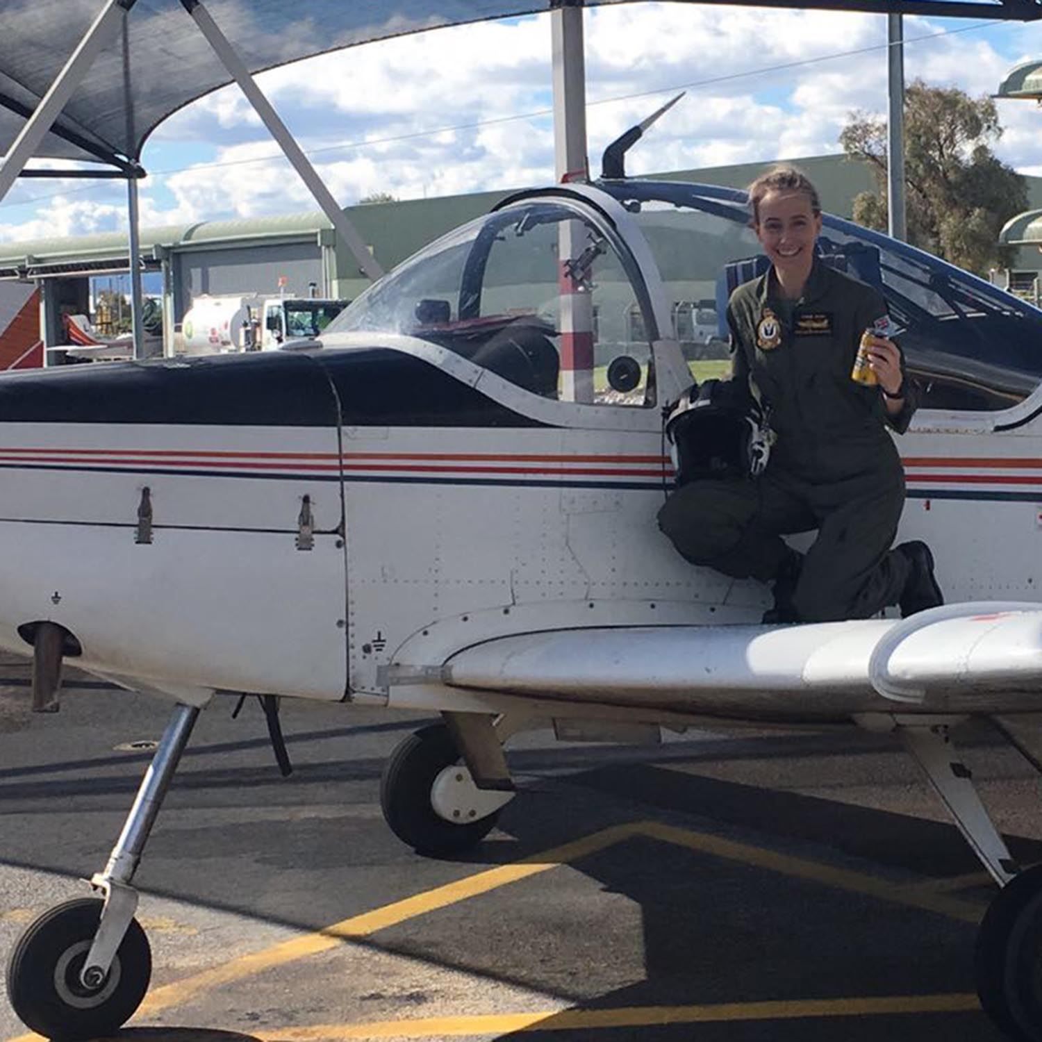Connie-Lee Dixon after her first solo flight