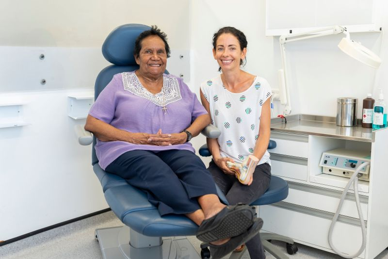 Image: Aunty Nola Leslie, who attends the clinic regularly to monitor her health, with Associate Professor Viv Chuter.