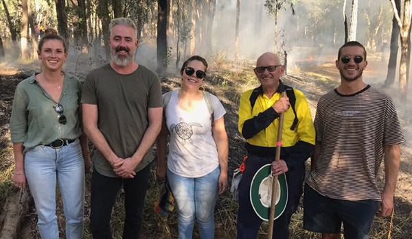 Staff and students at the cultural burn