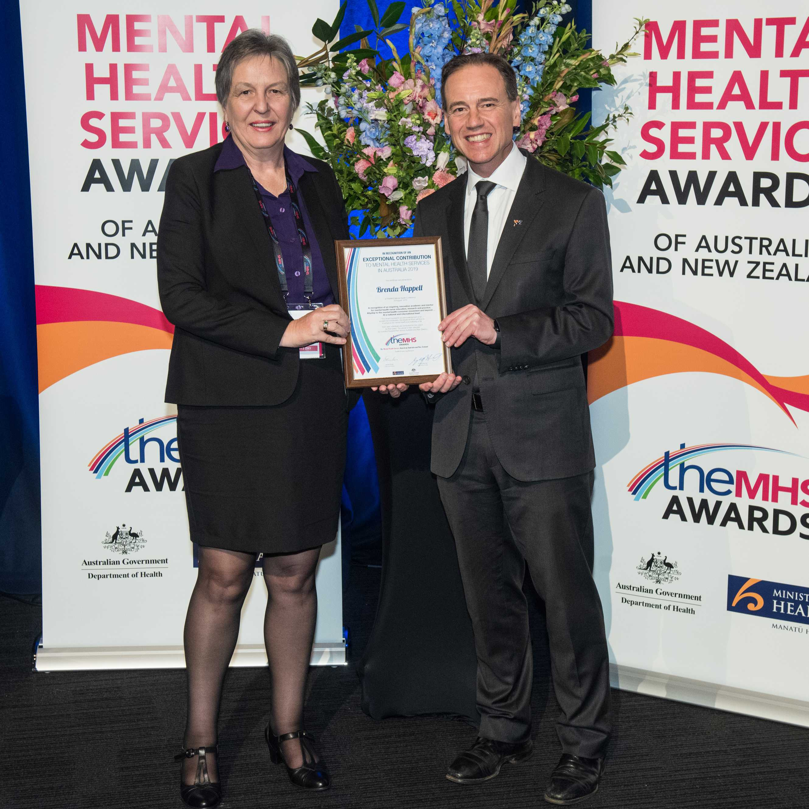 Prof Brenda Happell presented with her award by The Hon Greg Hunt MP, Federal Minister for Health