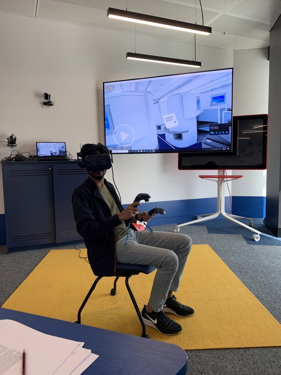 person in vr headset