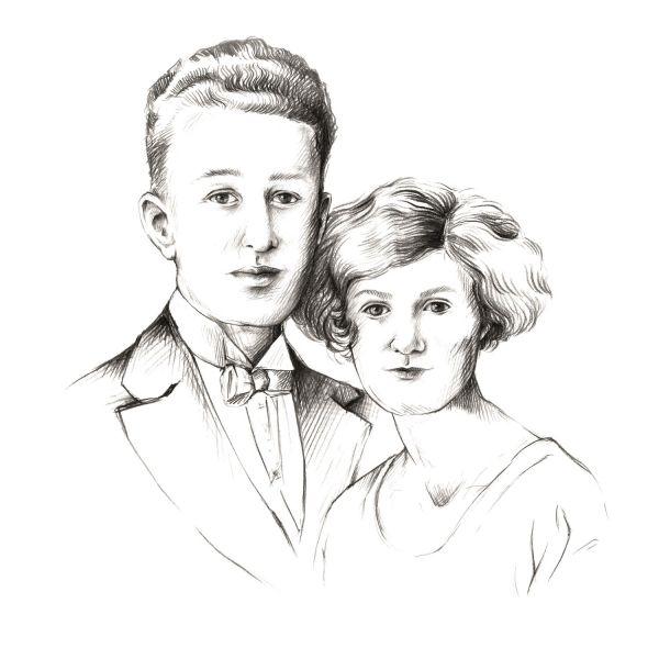 Illustration of Harold and Gladys Brawn