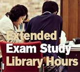 Extended library hours for exam study