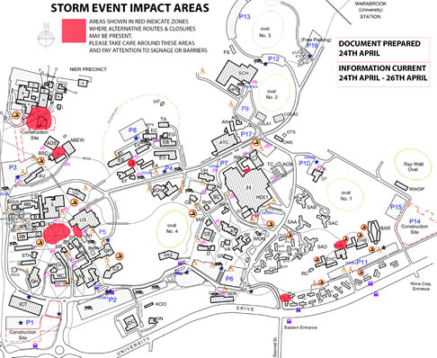 Storm event impact areas