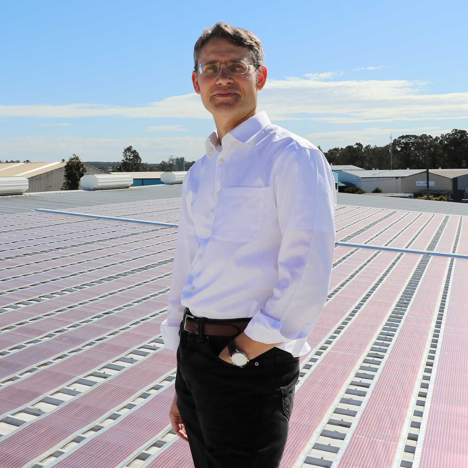 Professor Paul Dastoor with solar field