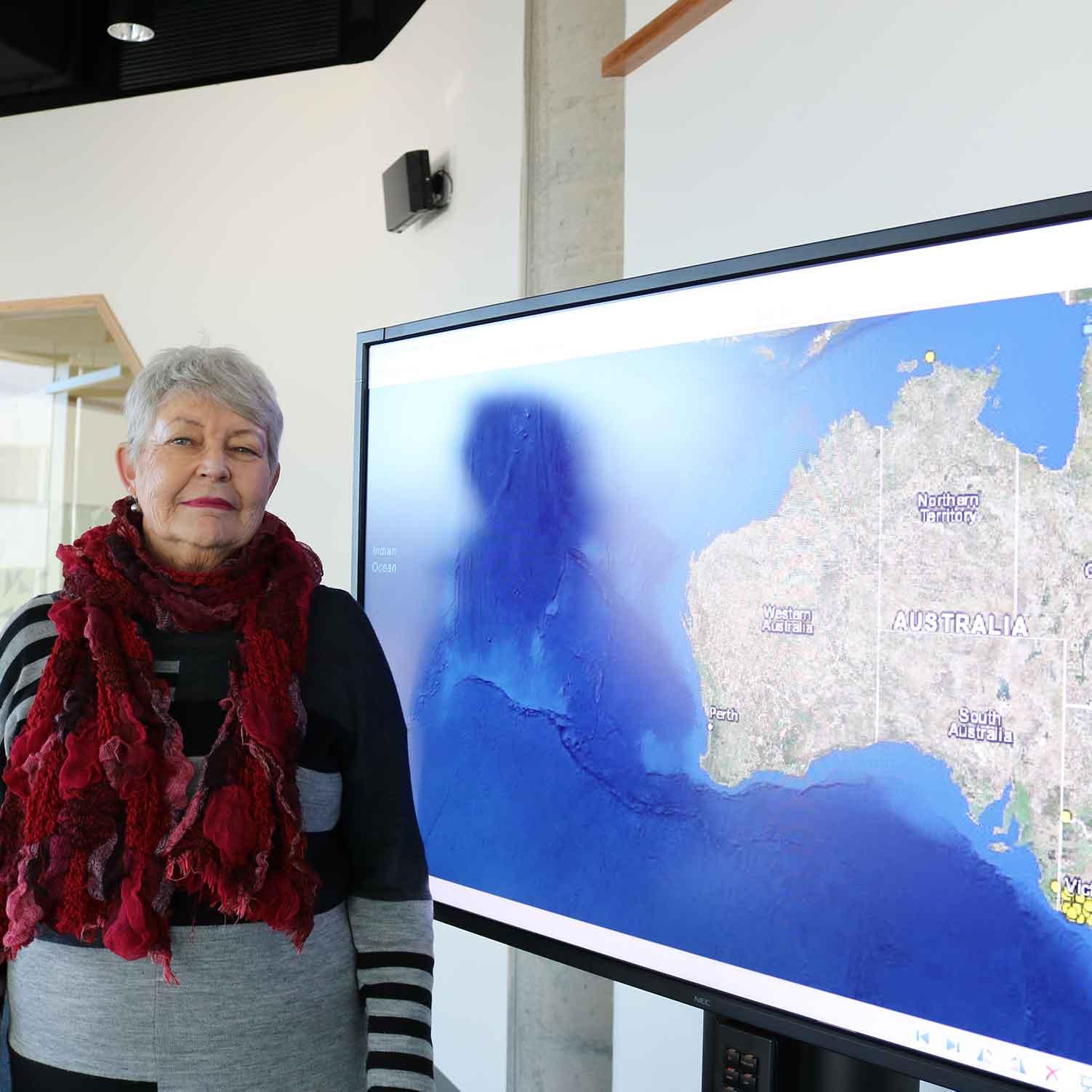 Lyndall Ryan with massacre map