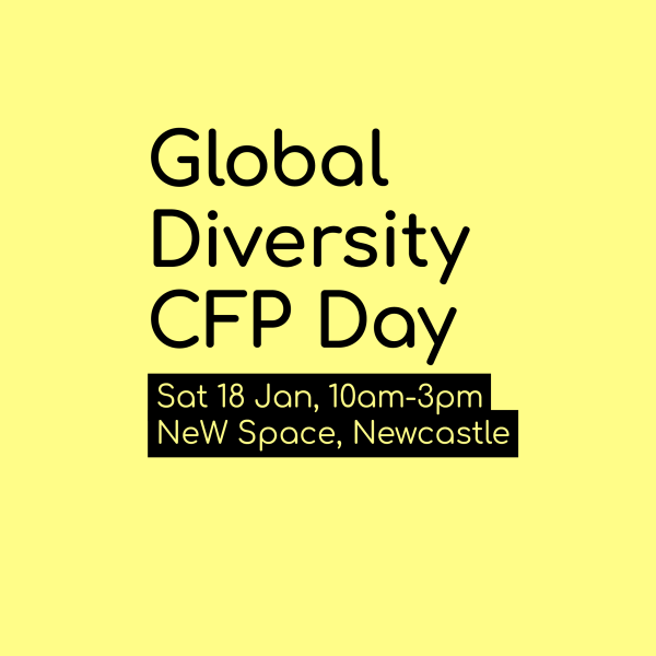 A yellow tile with Global Diversity CFP Day written on it in black text