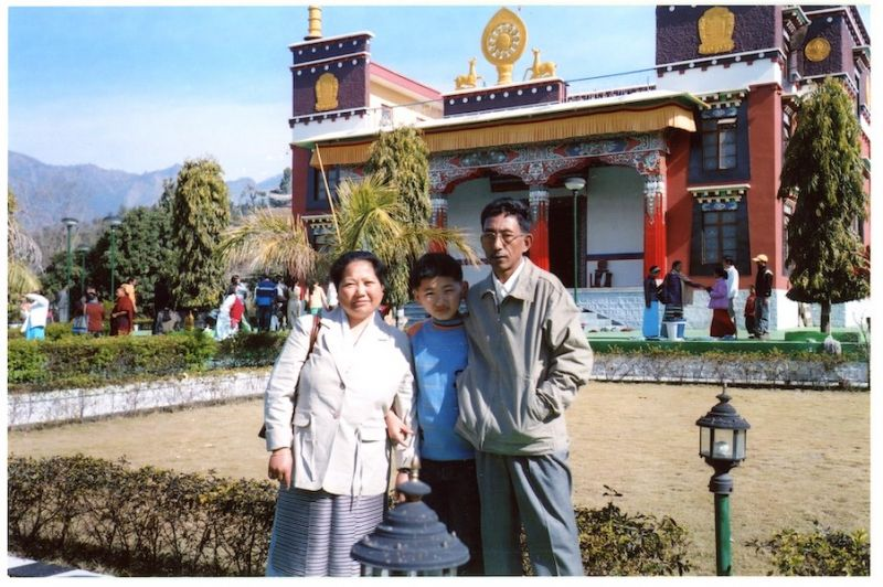 Tenzin and his parents in Himachal Pradesh in India