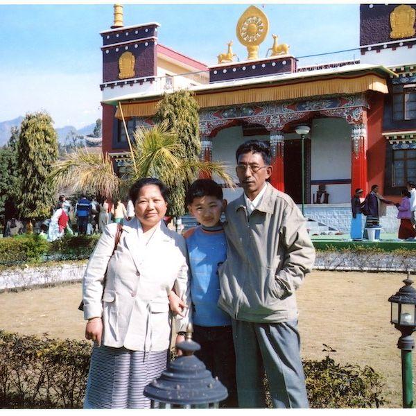 Tenzin and his parents in Himachal Pradesh in India