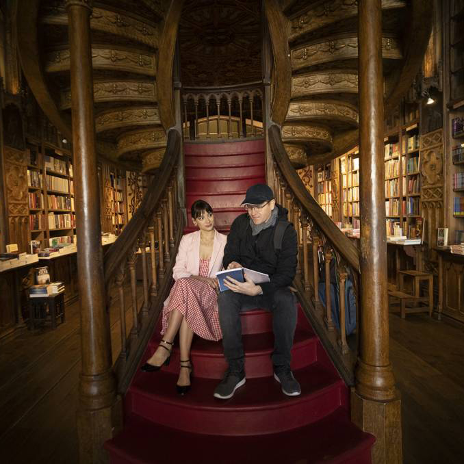 Photo on set in a bookstore