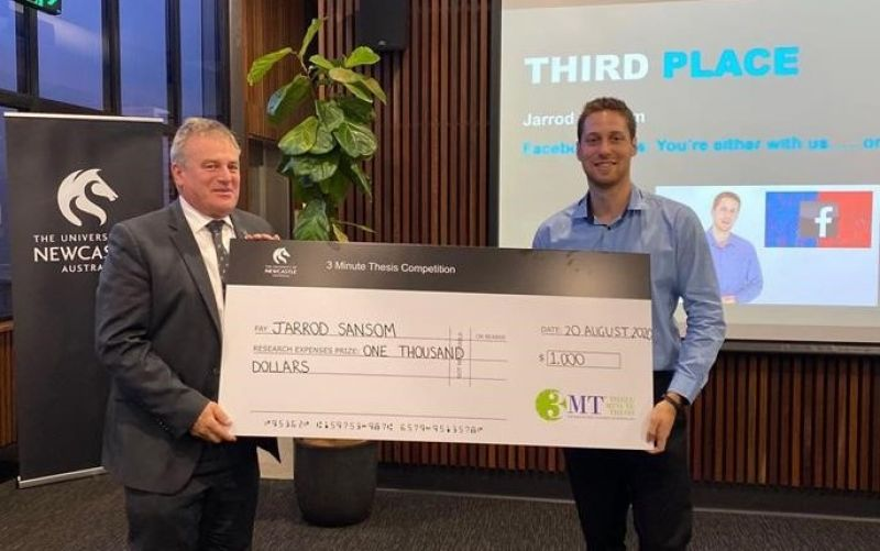 Ambassador Jarrod Sansom (B Communication (Honours) 2020) was awarded third prize in the University of Newcastle's Three Minute Thesis awards for researchers