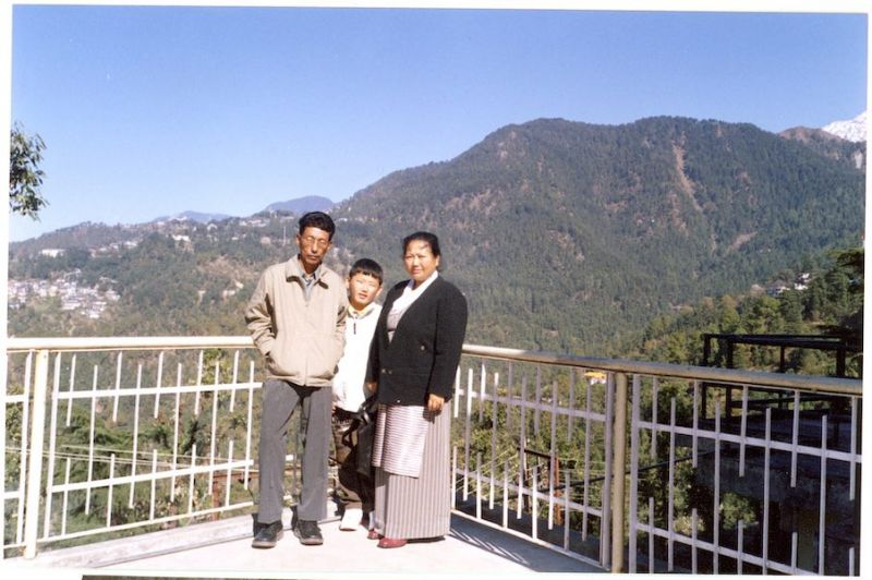 Tenzin and his parents in Himachal Pradesh, Northern India