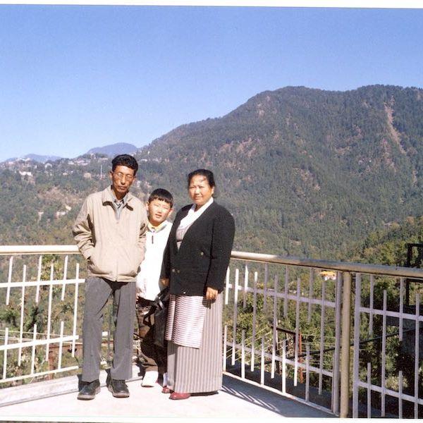 Tenzin and his parents in Himachal Pradesh, Northern India
