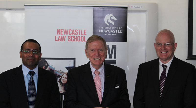 Dean of Law Sandeep Gopalan, Justice Michael Kirby, PVC Richard Dunford