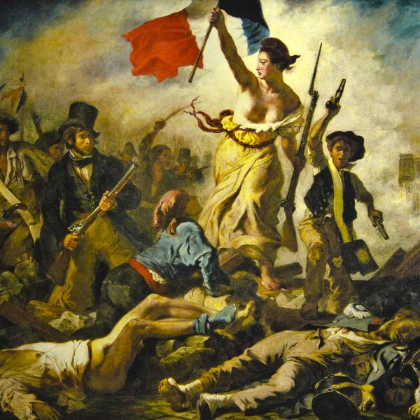 Painting of battle scene in the French Revolution - woman stands in crowd holding French flag