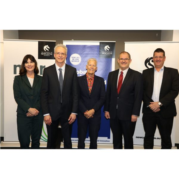 (L-R) Lucy Wicks MP, Laureate Professor Kevin Galvin, Professor Deborah Hodgson, Professor Alan Broadfoot, and Professor Brett Ninness