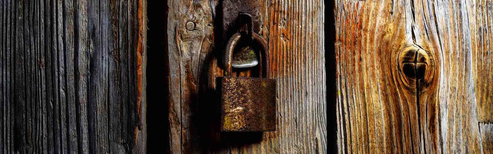 Wooden door with padlock