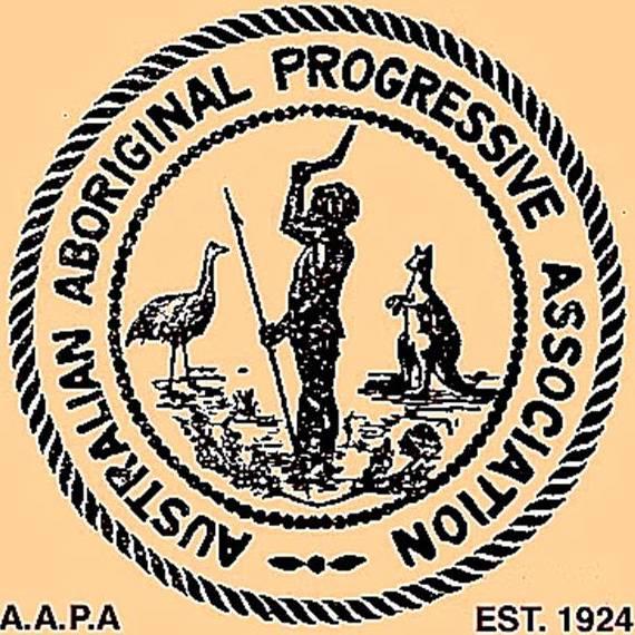 Circular logo showing Aboriginal man with spear and boomerang as well as an emu and kangaroo