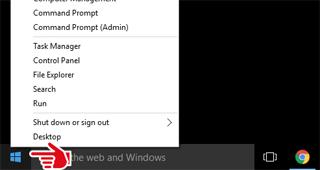 Windows 10 right click start button