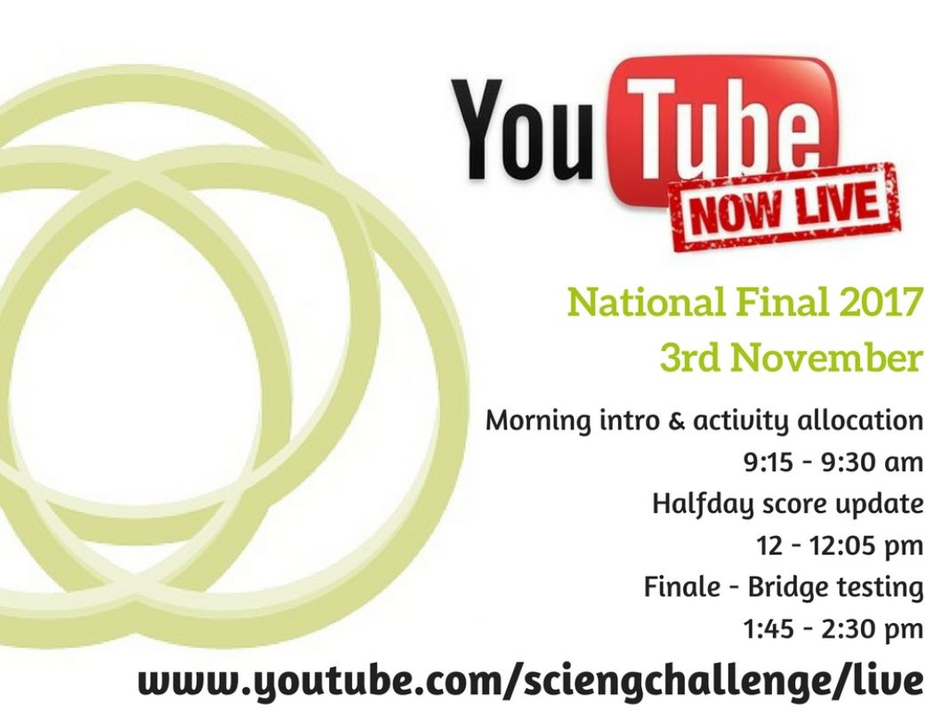 to watch live stream go to www.youtube.com/sciengchallenge/live