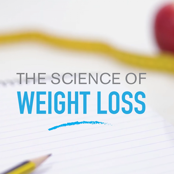 note pad, measuring tape a a salad bowl featured with the words The Science of Weight Loss