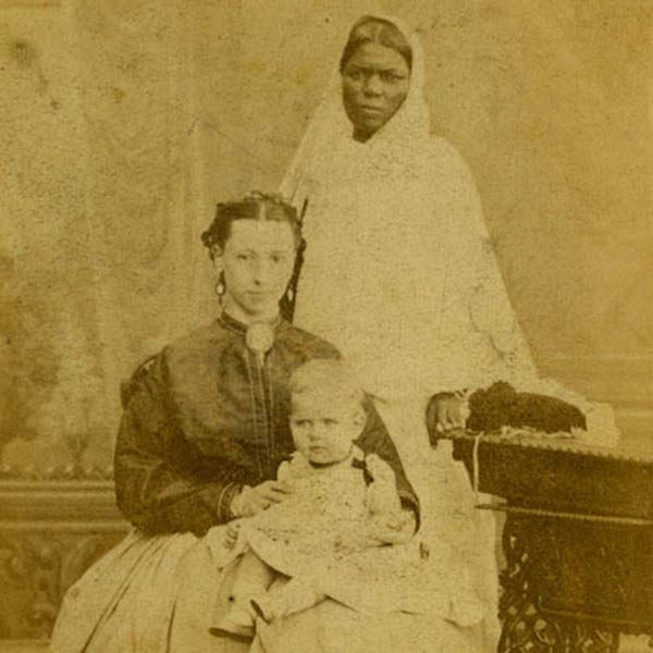An Ayah with European mother and child (1860s)