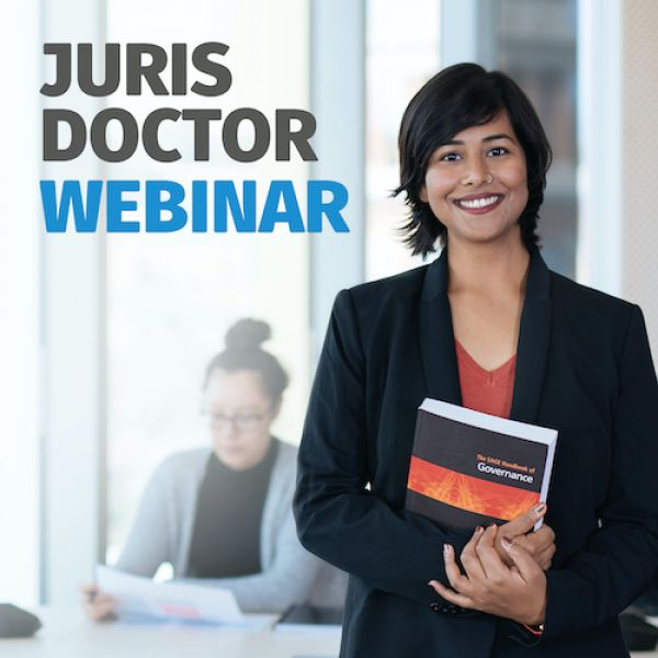 Image of a corporate woman with the accompanying text Juris Doctor webinar