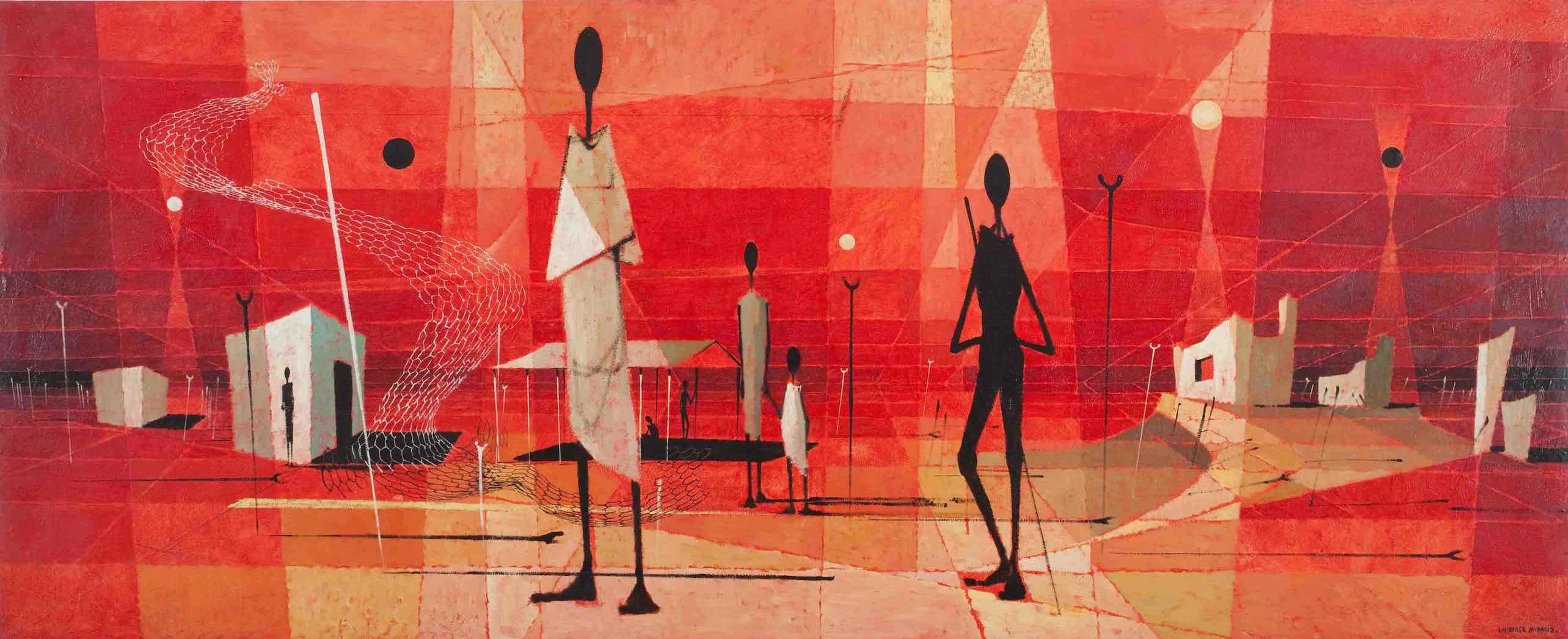 Cubist style painting depicting abstract Aboriginal camp with stick-like figures