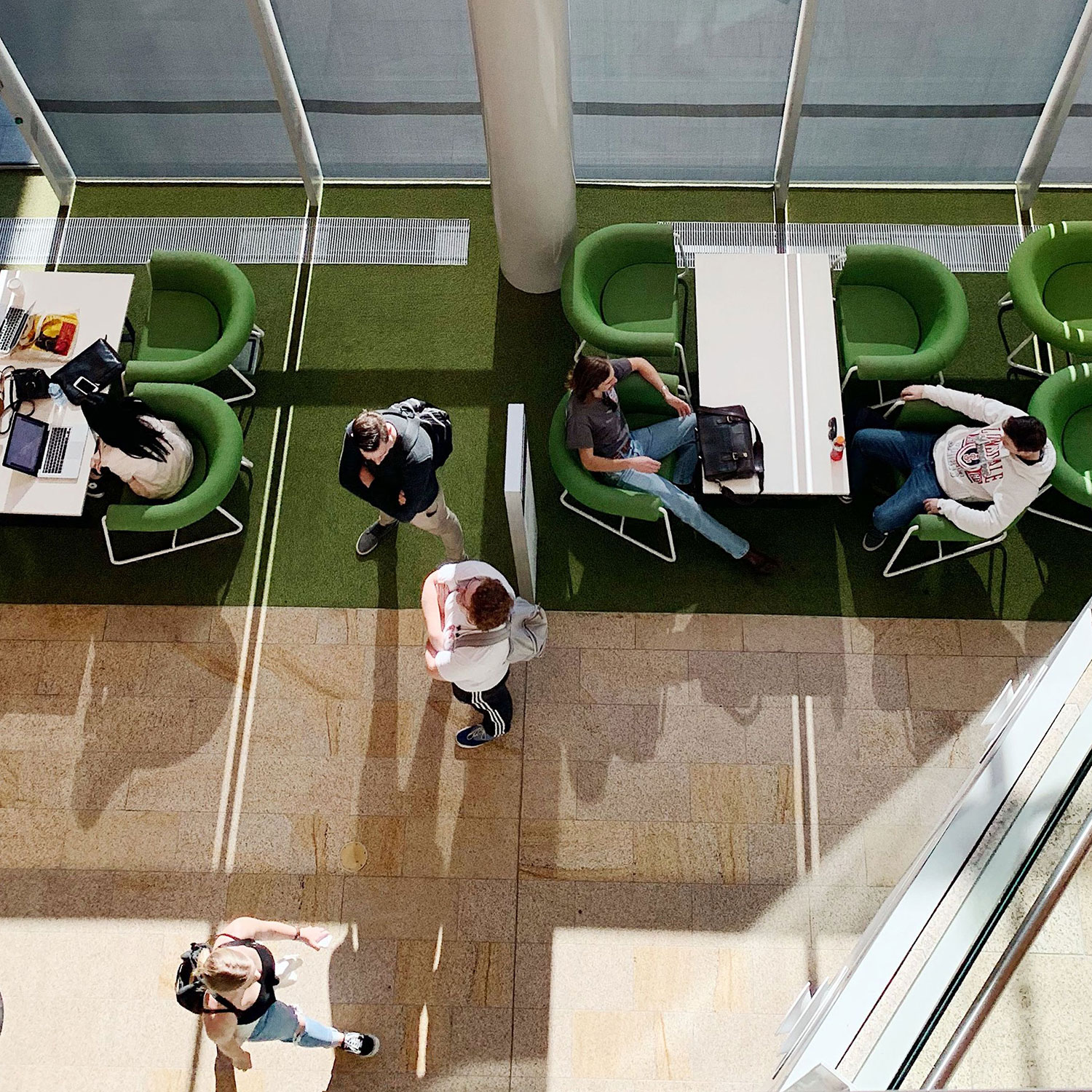 Students in a University of Newcastle building