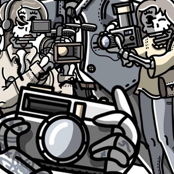 Illustration of skeletons holding cameras