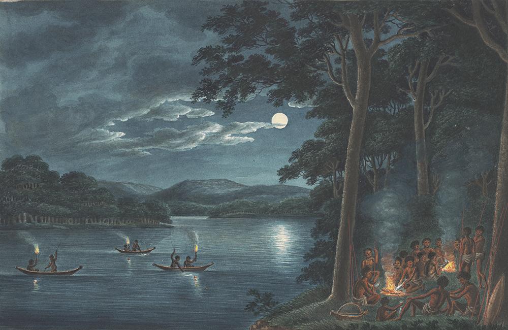 Joseph Lycett, Fishing by torchlight, 1817