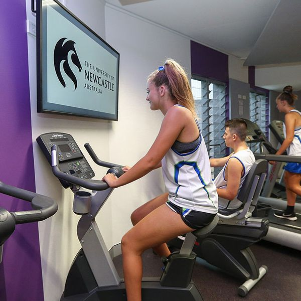 students on exercise bikes