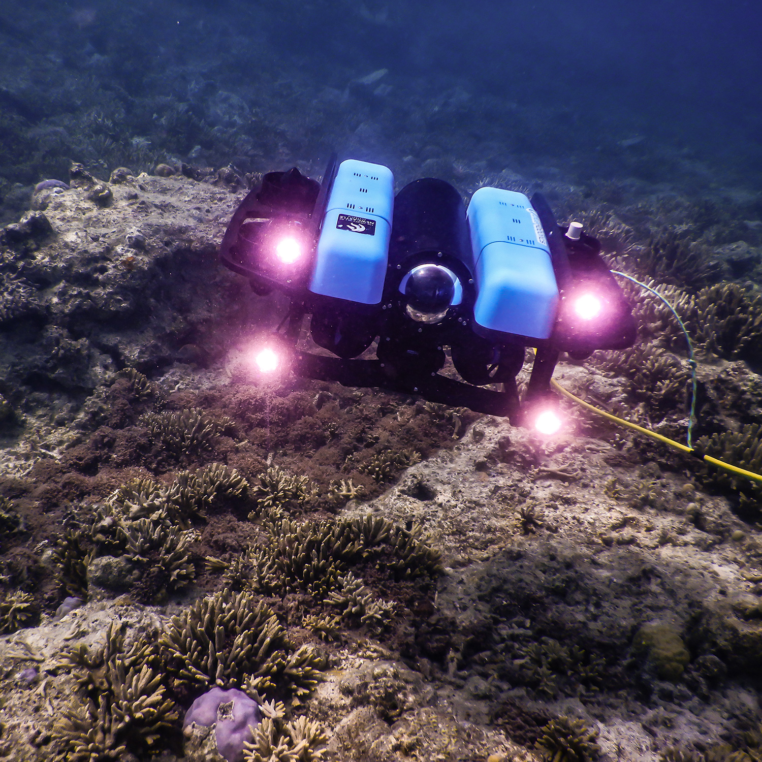 A remotely operated vehicle underwater