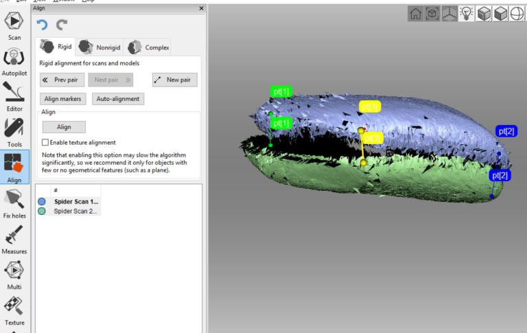 3D scanning (alignment process) Aboriginal artefact for Deep Time project