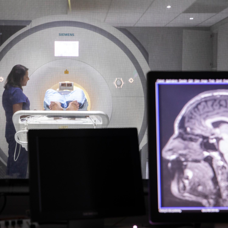 Dementia Study Patient in HMRI MRI with technician