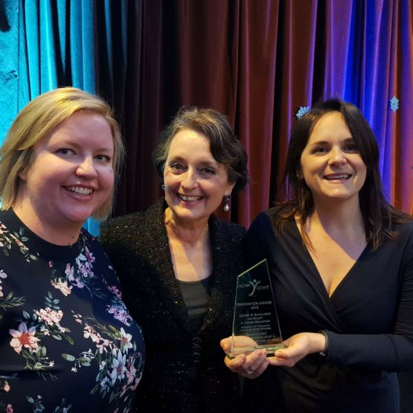 UON's Emily Fuller and Louise Rak with Minister Pru Goward