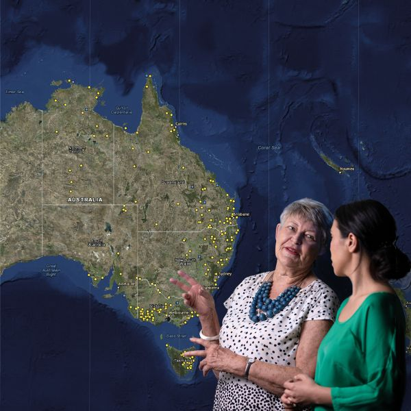 Professor Lyndall Ryan with the map of Australia showing the colonial massacres