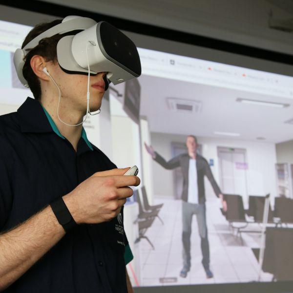 Bachelor Nursing student Damian Moore uses virtual reality conflict resolution