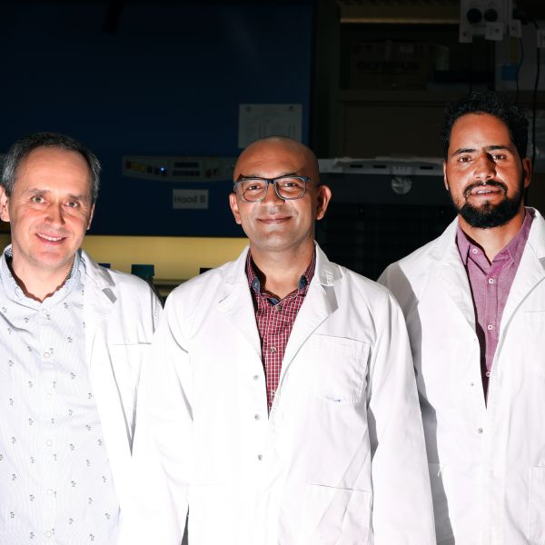 Associate Professor Pradeep Tanwar (centre) with research team colleagues Dr Dariusz Alterman (left) and Dr Shafiq Syed (right).