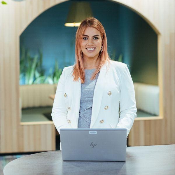 Postgraduate student with laptop