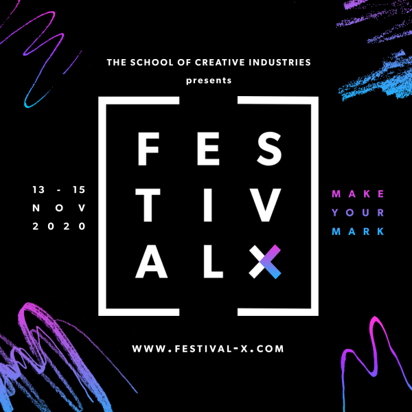 Festival X logo - white square and writing with black background
