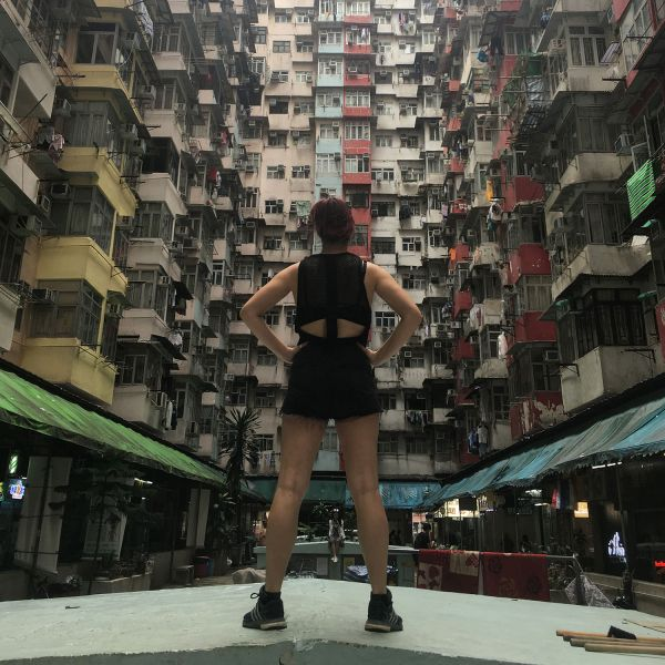 Student with high density apartment buildings in Hong Kong