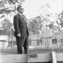Early 1970s Principal of the Newcastle College of Advanced Education, Griffith Duncan, at the site of the Hunter building.