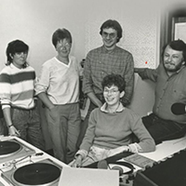 2NURFM staff in their studio in the Mathematics Building in 1984