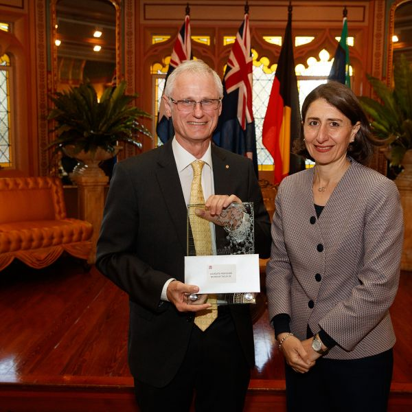 Laureate Prof Nicholas Talley and NSW Premier Gladys Berejiklian