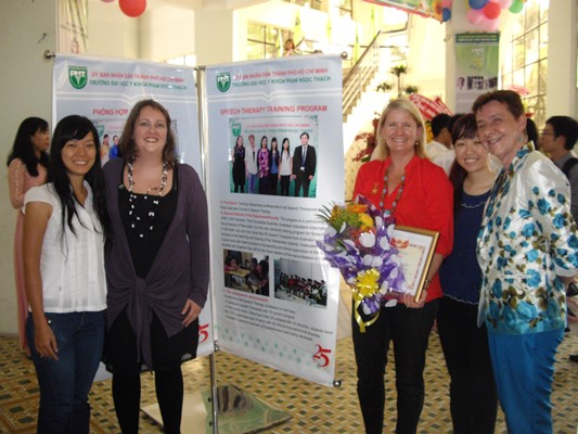 Sally Hewat and team at the awards in Vietnam