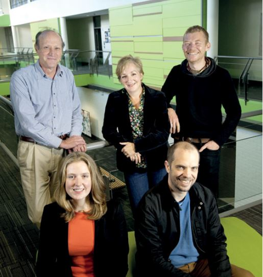 Centre for Literary and Linguistic Computing members (L to R) Professor Hugh Craig, Naomi Fraser, Dr Elizabeth Spencer, Bill Pascoe and Reuben Ramsay