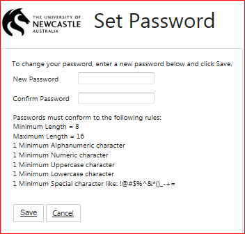 Set password page